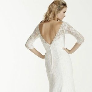 David's Bridal Lace 3/4 Sleeve Lace Wedding gown